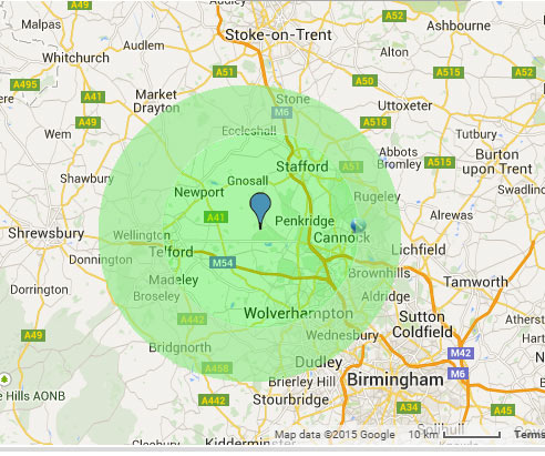 We cover a wide range of areas including Cannock, Rugely, Telford, wolverhampton and stafford